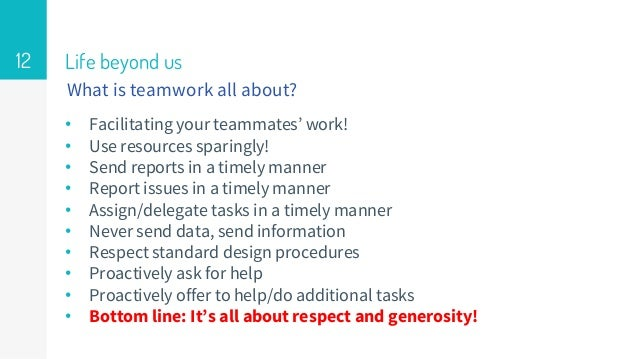 Life beyond us • Facilitating your teammates' work! • Use resources sparingly! • Send reports in a timely manner • Report ...