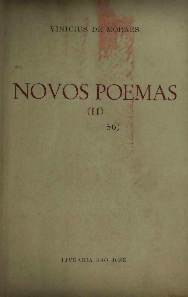 VINÍCIUS DE MORAES  NOVOS POEMAS (IP 56)  LIVRARIA SAO JOSÉ