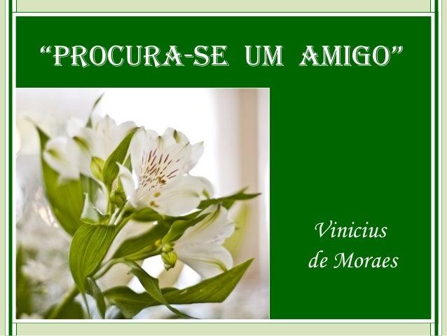 """""""Procura-se um amigo""""                Vinicius               de Moraes"""