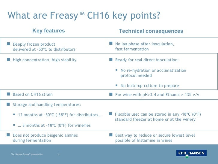 What are Freasy™ CH16 key points? <ul><li>Deeply frozen product  delivered at -50ºC to distributors </li></ul><ul><li>High...