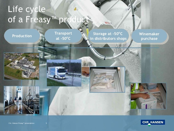 Life cycle  of a Freasy™ product Production Transport at -50 º C Storage at -50 º C  in distributors shops Winemaker purch...