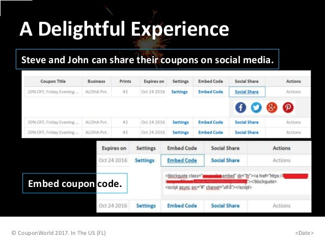 Steve and John can share their coupons on social media. © CouponWorld 2017. In The US (FL) <Date> A Delightful Experience ...