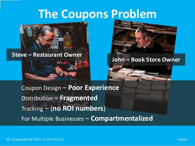The Coupons Problem Steve – Restaurant Owner © CouponWorld 2017. In The US (FL) <Date> John – Book Store Owner Coupon Desi...