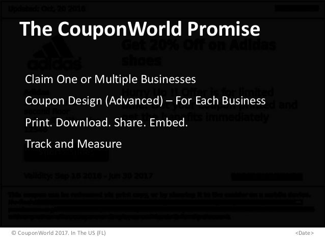 The CouponWorld Promise Claim One or Multiple Businesses Coupon Design (Advanced) – For Each Business Track and Measure Pr...
