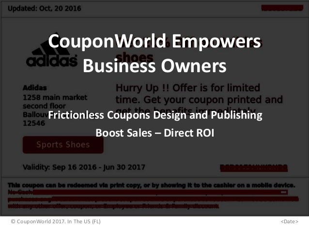 CouponWorld Empowers Business Owners Frictionless Coupons Design and Publishing Boost Sales – Direct ROI © CouponWorld 201...