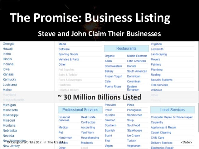 The Promise: Business Listing Steve and John Claim Their Businesses © CouponWorld 2017. In The US (FL) <Date> ~ 30 Million...