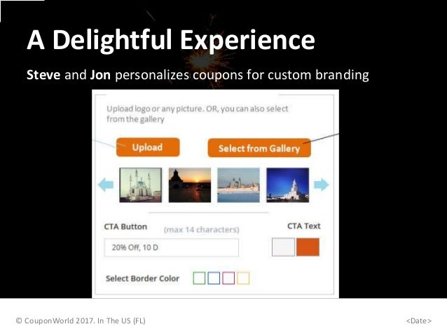 Steve and Jon personalizes coupons for custom branding © CouponWorld 2017. In The US (FL) <Date> A Delightful Experience