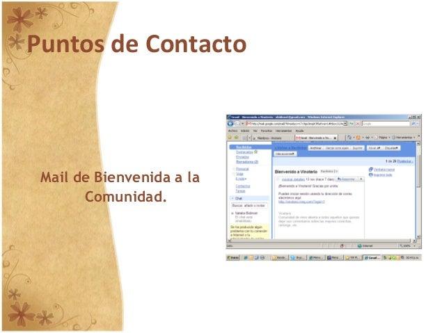 Puntos de Contacto Mail de Bienvenida a la Comunidad.
