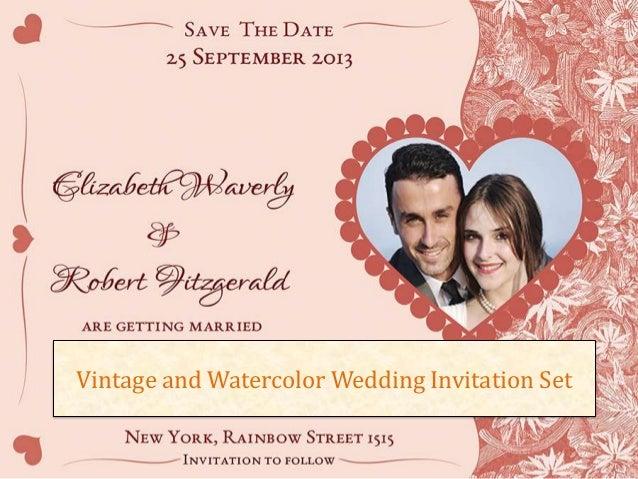 Vintage and Watercolor Wedding Invitation Set