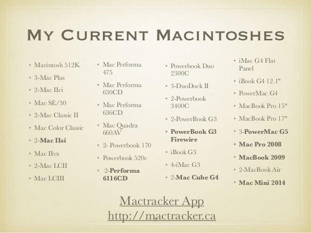 My Current Macintoshes • Macintosh 512K • 3-Mac Plus • 2-Mac IIci • Mac SE/30 • 2-Mac Classic II • Mac Color Classic • 2-M...