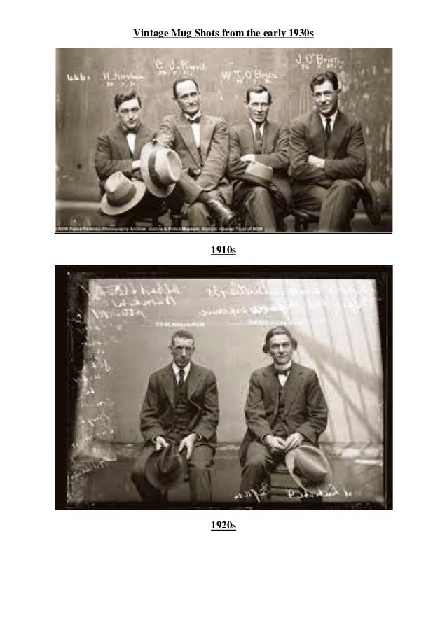 Vintage Mug Shots from the early 1930s  1910s  1920s
