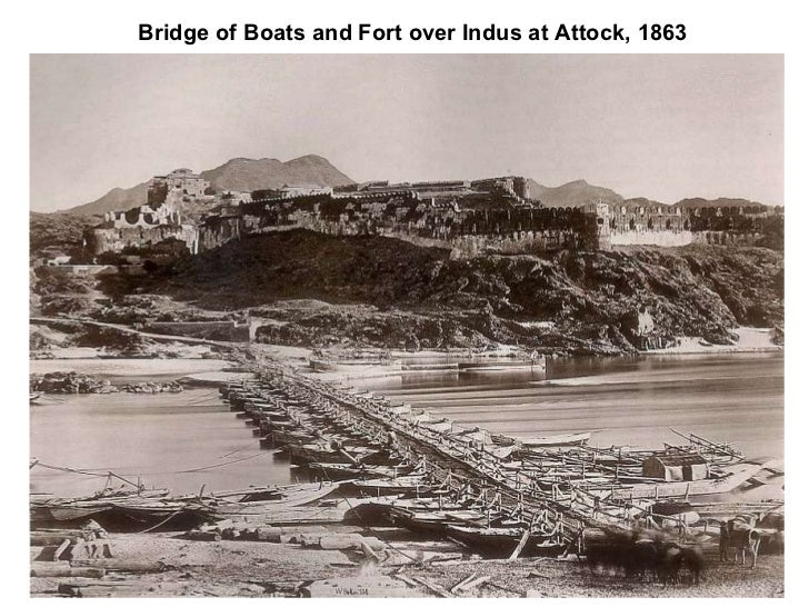 Bridge of Boats and Fort over Indus at Attock, 1863