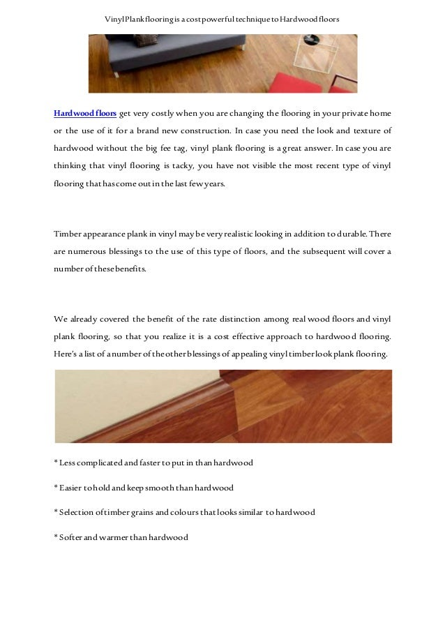 Vinyl Plank Flooring Is A Cost Powerful Technique To Hardwood