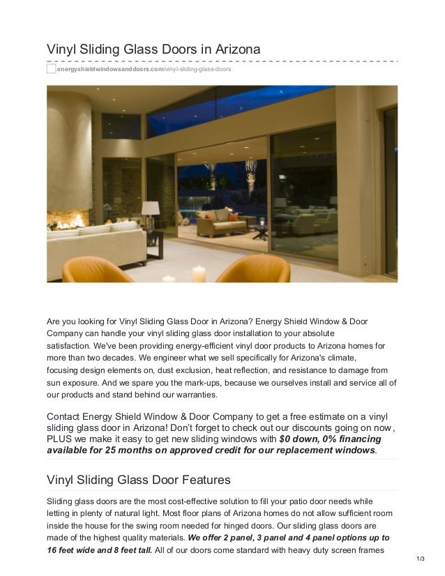 Vinyl Sliding Glass Doors In Arizona