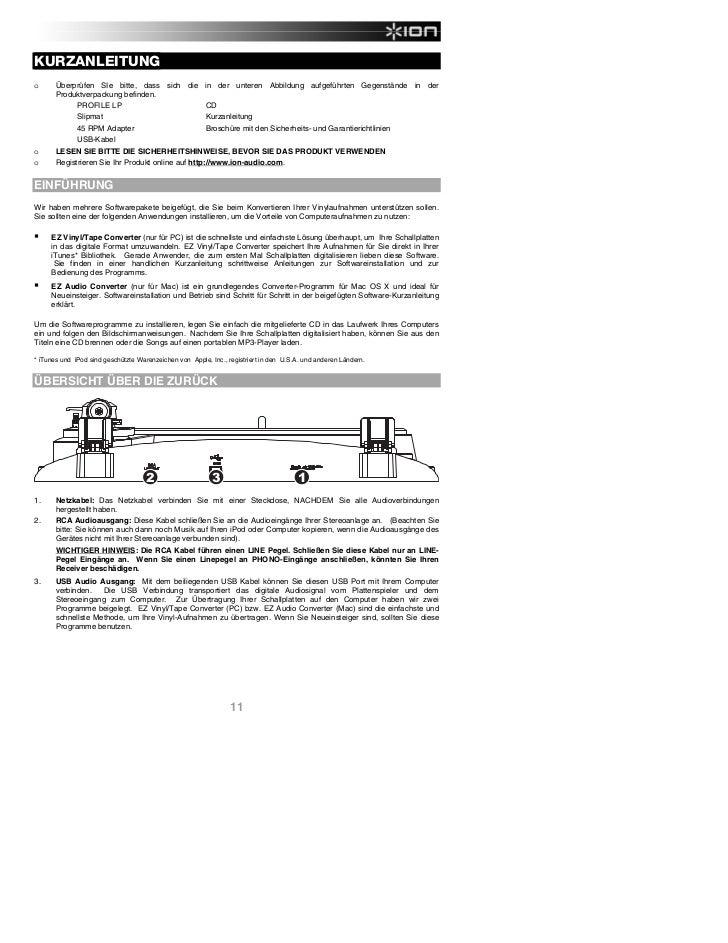Vinyl to MP3 Converter Profile LP Quickstart Guide