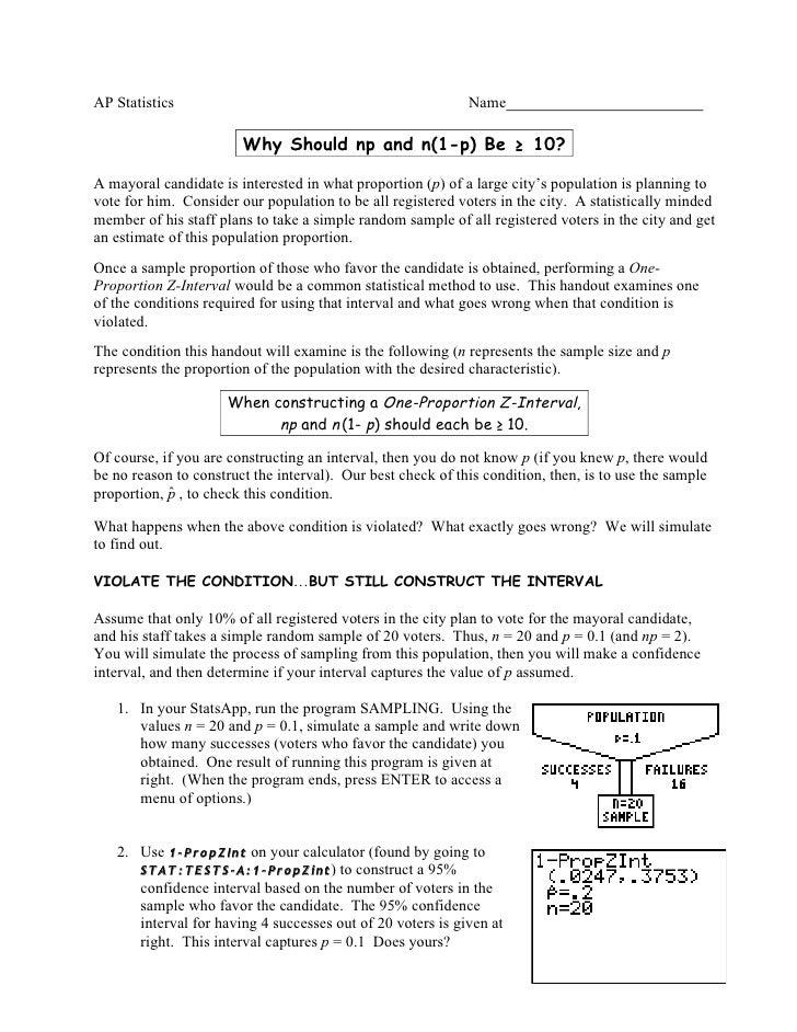 AP Statistics                                                Name                          Why Should np and n(1-p) Be ≥ 1...