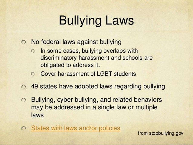 anti bullying laws argument Above the law in your inbox subscribe and get breaking news, commentary, and opinions on law firms, lawyers, law schools, lawsuits, judges, and more.