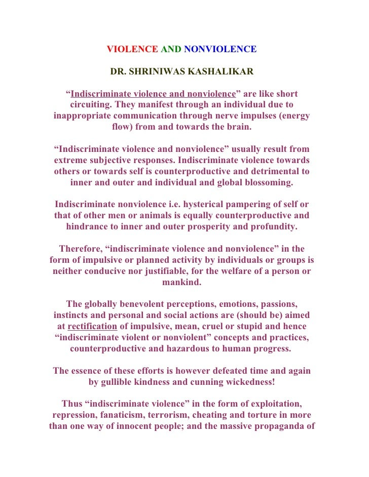"VIOLENCE AND NONVIOLENCE                 DR. SHRINIWAS KASHALIKAR      ""Indiscriminate violence and nonviolence"" are like ..."