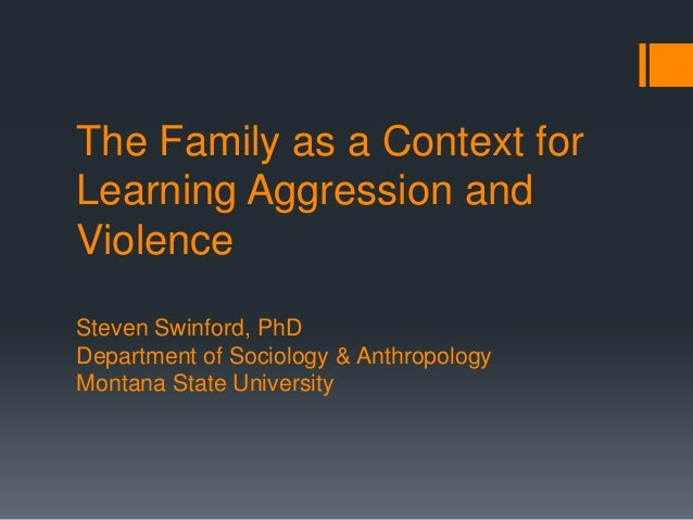 The Family as a Context for Learning Aggression and Violence Steven Swinford, PhD Department of Sociology & Anthropology M...