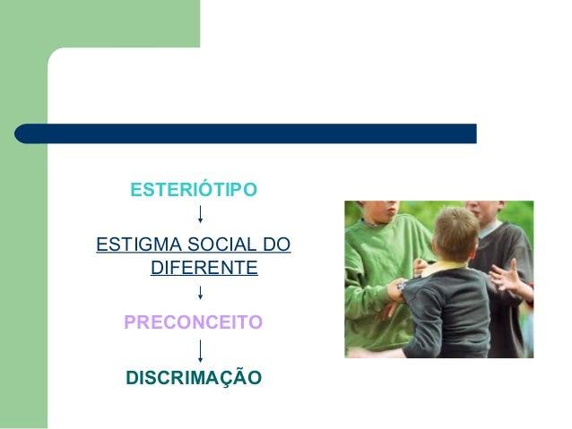 ESTERIÓTIPO ESTIGMA SOCIAL DO DIFERENTE PRECONCEITO DISCRIMAÇÃO