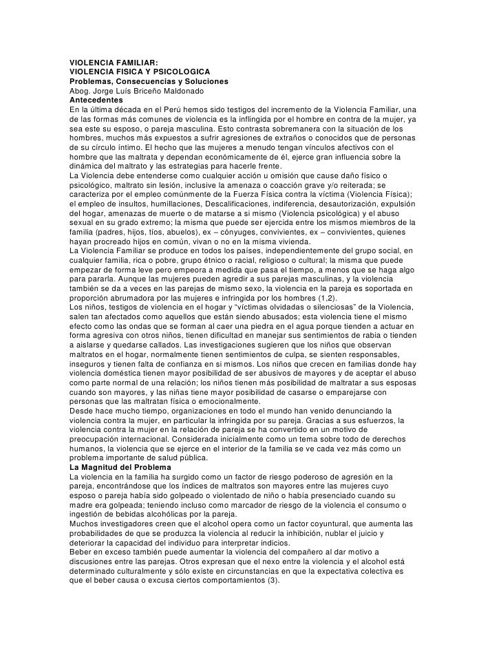 VIOLENCIA FAMILIAR:<br />VIOLENCIA FISICA Y PSICOLOGICA<br />Problemas, Consecuencias y Soluciones<br />Abog. Jorge Luís B...
