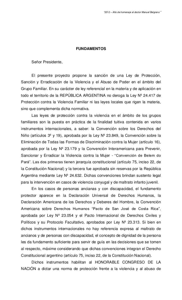 """""""2012 – Año de homenaje al doctor Manuel Belgrano """"                                 FUNDAMENTOS      Señor Presidente,    ..."""