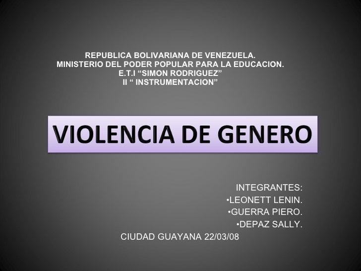 "REPUBLICA BOLIVARIANA DE VENEZUELA. MINISTERIO DEL PODER POPULAR PARA LA EDUCACION. E.T.I ""SIMON RODRIGUEZ"" II "" INSTRUMEN..."