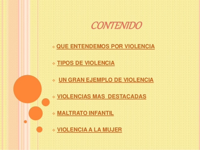 CONTENIDO  QUE ENTENDEMOS POR VIOLENCIA  TIPOS DE VIOLENCIA  UN GRAN EJEMPLO DE VIOLENCIA  VIOLENCIAS MAS DESTACADAS ...