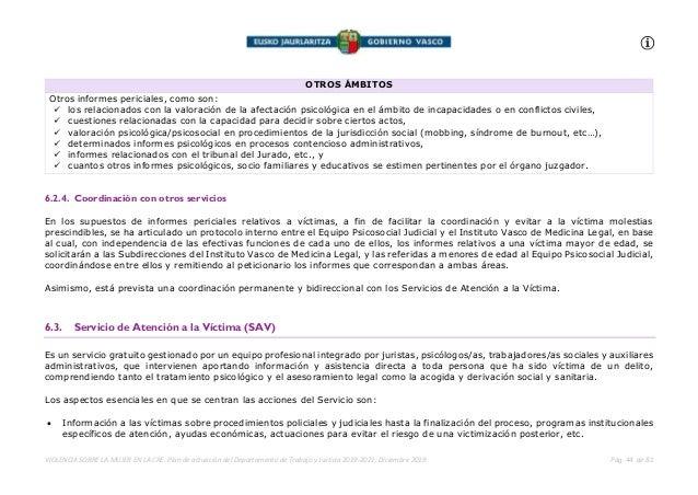 VIOLENCIA SOBRE LA MUJER EN LA CAE. Plan de actuación del Departamento de Trabajo y Justicia 2019-2021. Diciembre 2019 Pág...