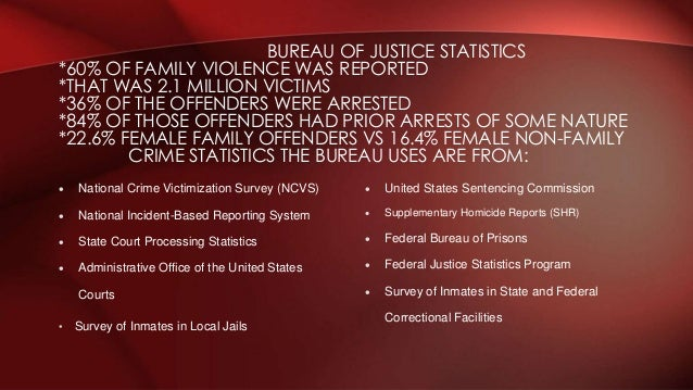  United States Sentencing Commission  Supplementary Homicide Reports (SHR)  Federal Bureau of Prisons  Federal Justice...