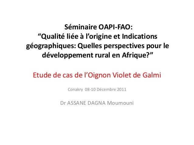 """Séminaire OAPI-FAO: """"Qualité liée à l'origine et Indications géographiques: Quelles perspectives pour le développement rur..."""