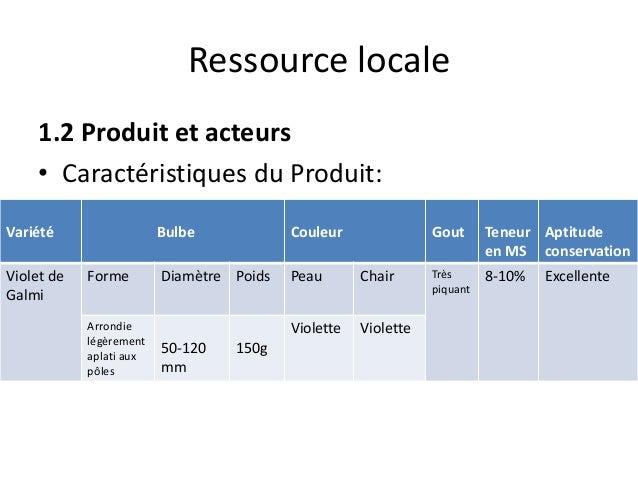 Ressource locale 1.2 Produit et acteurs • Caractéristiques du Produit: Variété Bulbe Couleur Gout Teneur en MS Aptitude co...