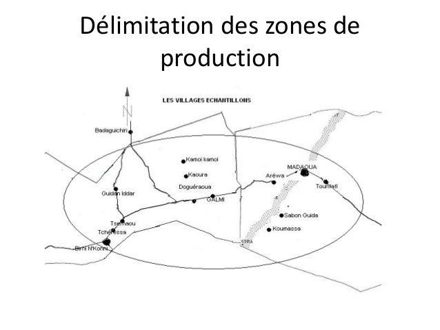 Délimitation des zones de production