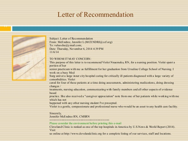 Nursing School Recommendation Letter Sample: Violet Nursing Portfolio