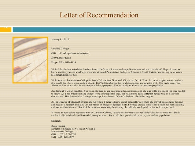 Nursing School Recommendation Letter Example: Violet Nursing Portfolio