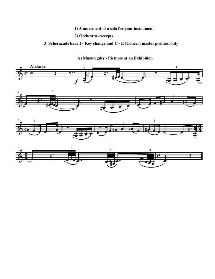 1) A movement of a solo for your instrument                                    2) Orchestra excerpts                3) Sch...
