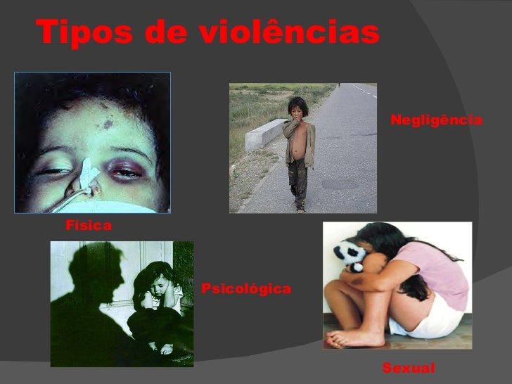 Tipos de violências Física Negligência Psicológica Sexual