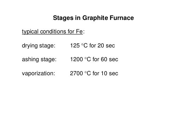 Stages in Graphite Furnace typical conditions for Fe: drying stage: 125 C for 20 sec ashing stage: 1200 C for 60 sec vap...