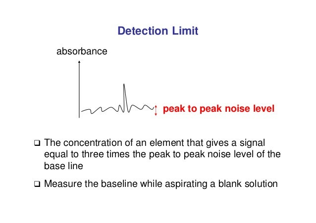 Detection Limit absorbance peak to peak noise level  The concentration of an element that gives a signal equal to three t...