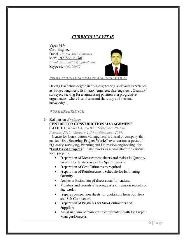 vipin mv civil engineer cv and coverletter