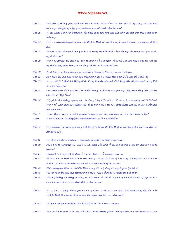 wWw.VipLam.Net Câu 25.  Hãy làm rõ những quan điểm của Hồ Chí Minh về đại đoàn kết dân tộc? Trong công cuộc đổi mới hiện n...