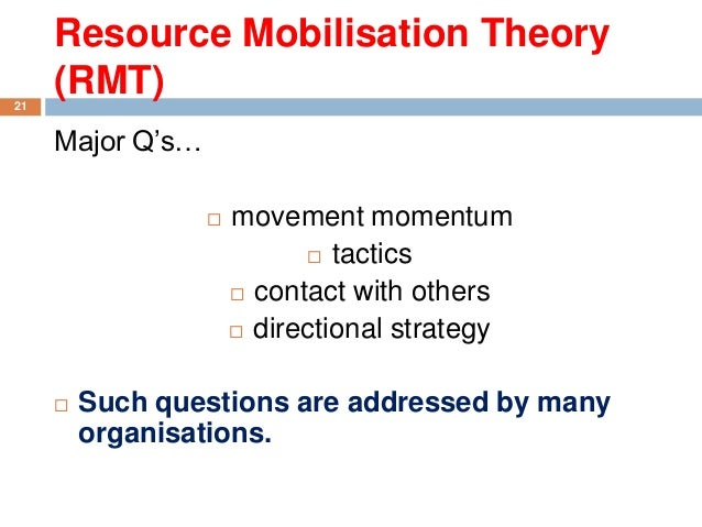 resource mobilisation theory Resource mobilization is the process of getting resource from resource provider,  using different mechanisms to implement the organization's work for achieving.