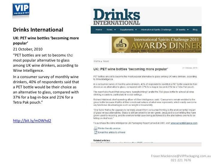 PET Wine Bottles ~ Recent Media & Euromonitor Info ~ VIP Packaging Slide 2