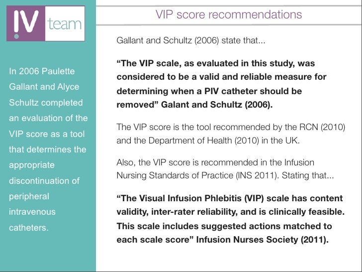 Introduction to the Visual Infusion Phlebitis (VIP) score