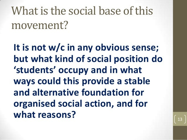 What is the social base of this movement? It is not w/c in any obvious sense; but what kind of social position do 'student...