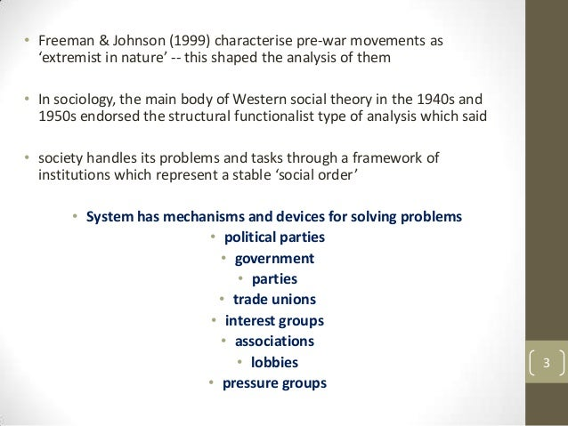 • Freeman & Johnson (1999) characterise pre-war movements as 'extremist in nature' -- this shaped the analysis of them • I...