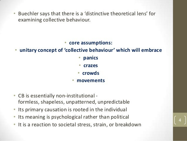 • Buechler says that there is a 'distinctive theoretical lens' for examining collective behaviour.  • core assumptions: • ...