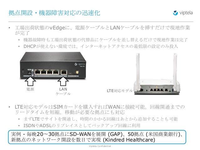 Viptela Confidential11 • 工場出荷状態のvEdgeに、電源ケーブルとLANケーブルを挿すだけで現地作業 が完了 • 機器故障時も工場出荷状態の代替品にケーブルを差し替えるだけで現地作業は完了 • DHCPが使えない環境で...