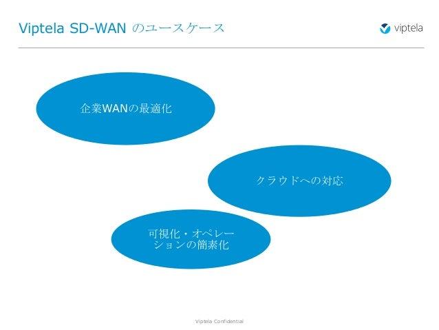 Viptela Confidential7 Viptela SD-WAN のユースケース 企業WANの最適化 クラウドへの対応 可視化・オペレー ションの簡素化