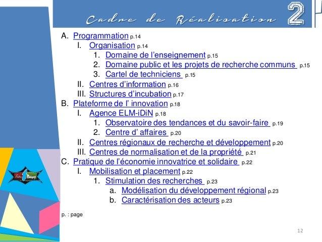 C a d r e d e R é a l i s a t i o n 2 A. Programmation p.14 I. Organisation p.14 1. Domaine de l'enseignement p.15 2. Doma...